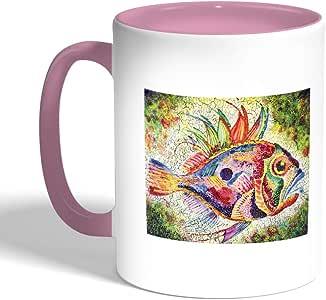 كوب سيراميك للقهوة، لون بنك، بتصميم سمكة ملونة
