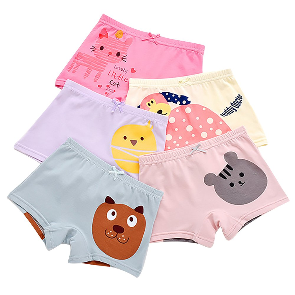 BOOPH Girls Panties, 5-Pack Colorful Animal Cat Chicken Girls Underwear Baby Toddler Briefs Boyshort for Little Girls 3T