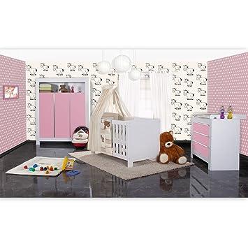 Babyzimmer weiß beige  Babyzimmer Felix in weis/rosa 21 tlg. mit 3 türigem Kl + Prestij in ...