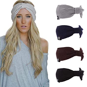Amazon.com  Women Fashion Casual Stripe Knitted Headband Hair Band ... 93e85349813c