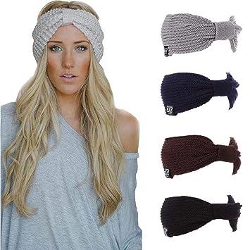 Amazon.com  Women Fashion Casual Stripe Knitted Headband Hair Band ... 7c3a0ffd0d2