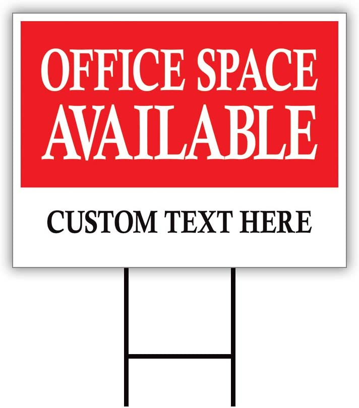 """Office Space Available Yard Sign Personalized 24"""" x 18"""" - Coroplast Visible Text Long Lasting Rust Free Custom Office Space Available Rent Lease Sign with Metal H-Stake, A (24x18, Double Sided)"""