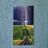 SOCOMIMI Microfiber Towel Decor Summer Storm About to Appear with Flash on The Field Solar Illumination High Absorbency