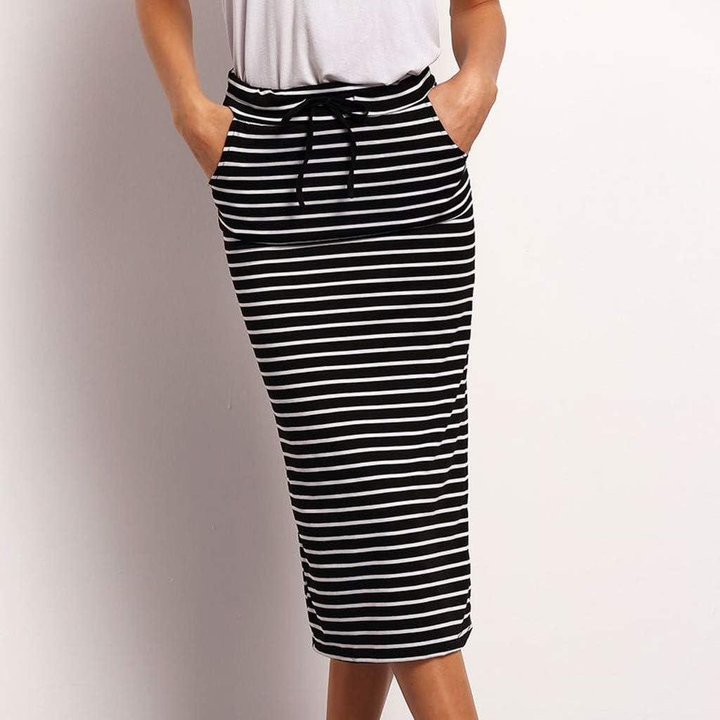 Womens Basic Skirt-Striped Knee Length Elastic Waist Bodycon Skirt-Elastic Waist Stretchy Office Pencil Skirt