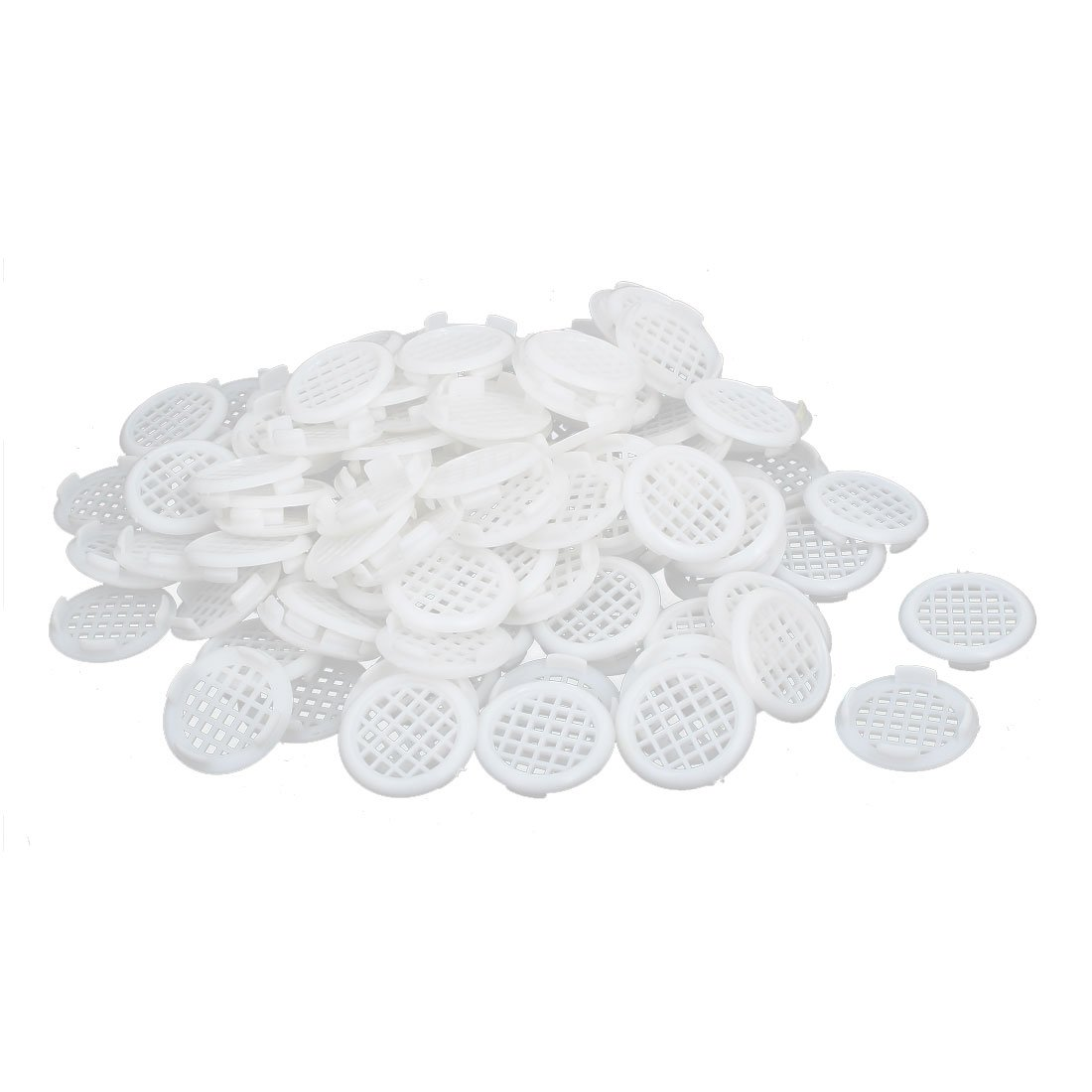 uxcell Shoes Cabinet 31mm Dia Plastic Square Mesh Hole Air Vent Louver Cover White 100pcs