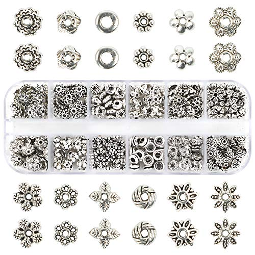 Quefe 360pcs Silver Spacer Beads Caps of 12 Styles Jewelry Accessories for Bracelet Necklace Jewelry Making