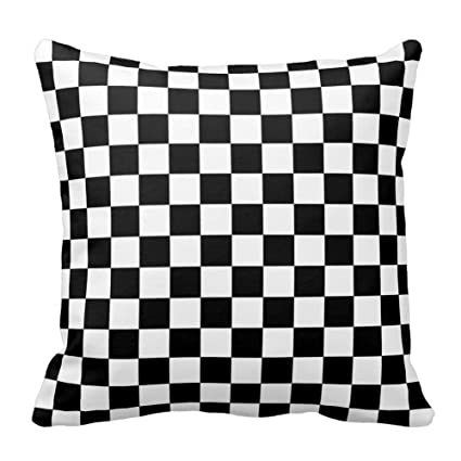 Amazoncom Black And White Checkered Pattern Throw Pillow Square