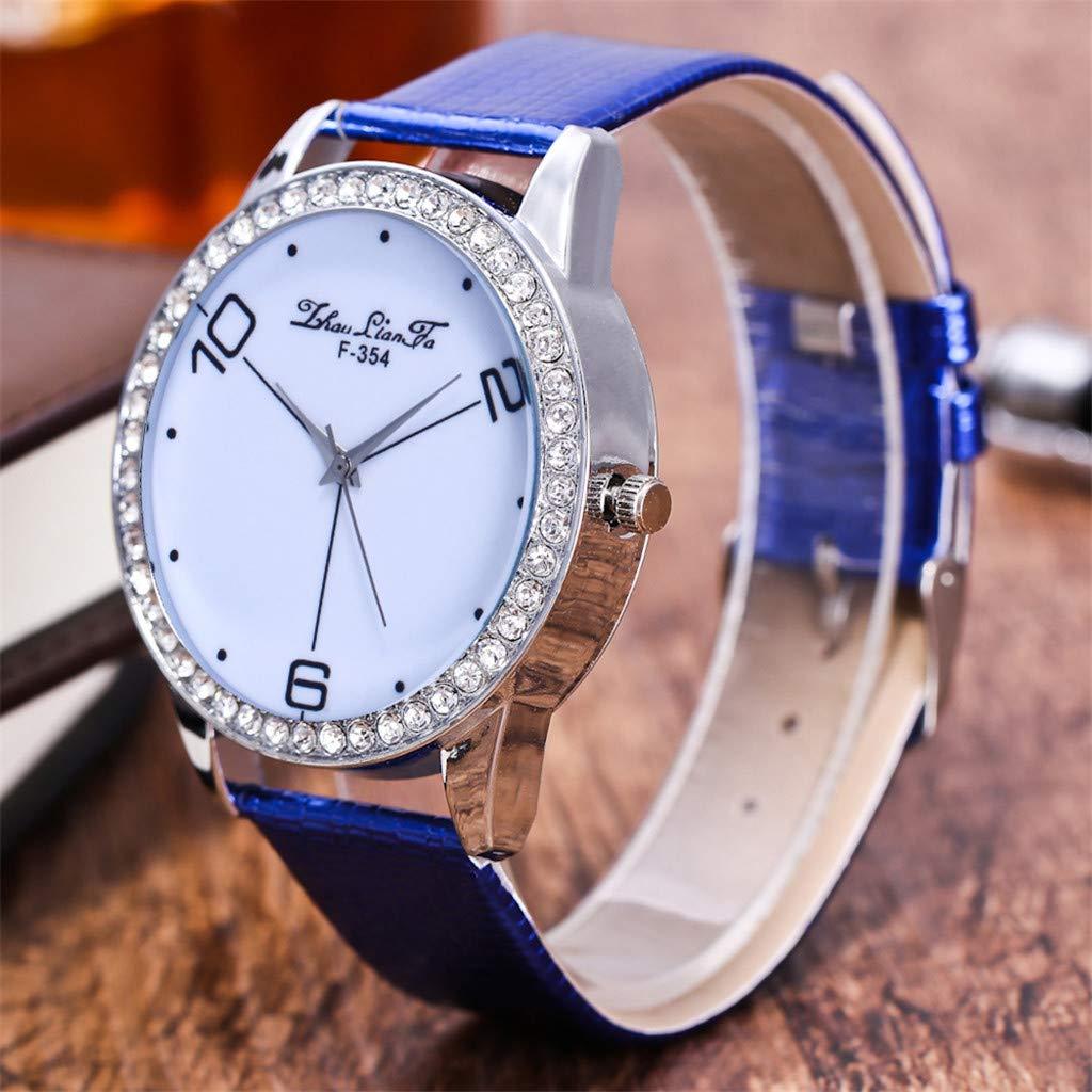 Amazon.com: Reloj de DAMA WoCoo Simple Analog Quartz Rhinestone Dial Wrist Watch with Leather Strap Watches Gifts (Blue): Kitchen & Dining