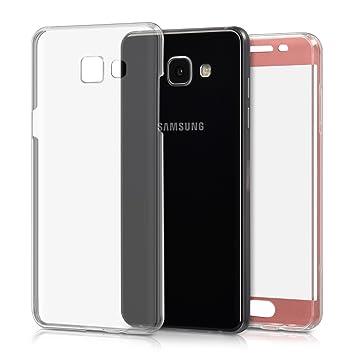 kwmobile Funda para Samsung Galaxy A5 (2016) - Carcasa Completa [360] de [Silicona] para móvil - Cover Doble [Oro Rosa/Transparente]