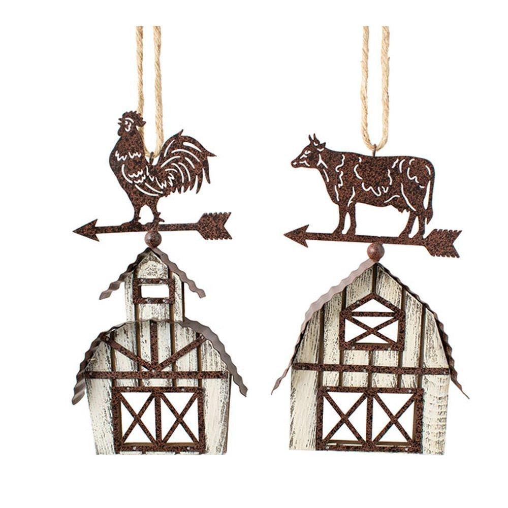2 Assorted Burton /& Burton Ornament Farm Living Cow And