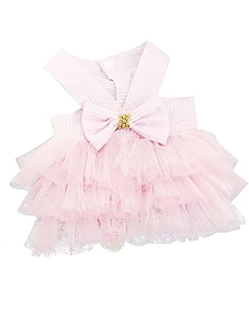 a7178553e Howstar Pet Dress, Cute Halter Bowknot Tutu Dresses for Dog Puppy Lace Skirt  Princess Dress