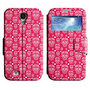 LEOCASE Pink Skull Funda Carcasa Cuero Tapa Case Para Samsung Galaxy S4 I9500 No.1001790