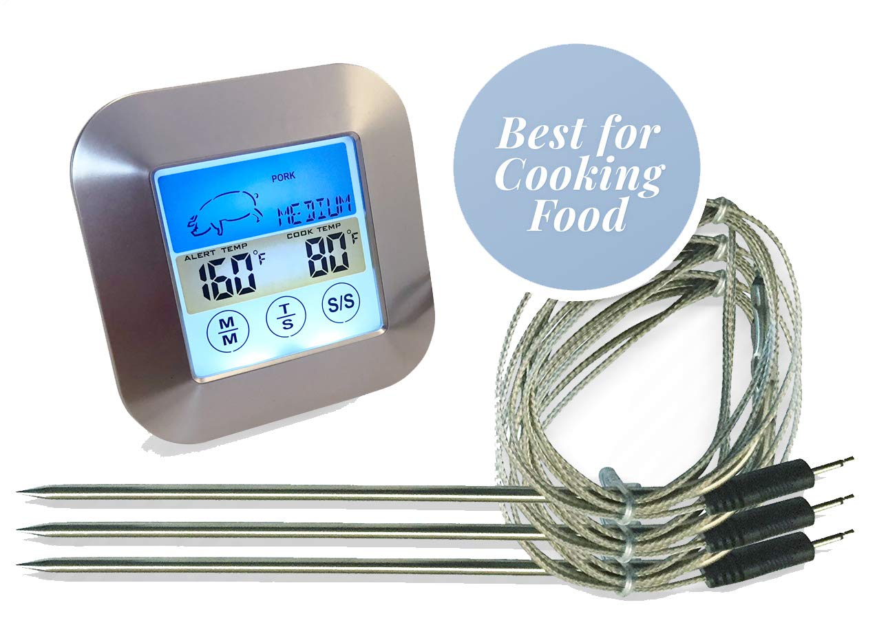 Color Oven Thermometer With Probe | 3 Waterproof Temperature Probes | Ideal Meat Thermometer Oven Safe | Best Candy Thermometer For Cooking Any Meat | Works in Electric Smoker, Traeger Grill or Bbq