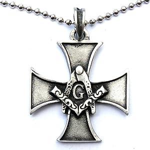 Freemason Iron Cross Pendant Masonic Freemasonry Pewter W Silver Ball Chain