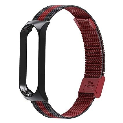 Lomire Correa de Reloj Inteligente de Pulsera Ajustable de Acero Inoxidable para Xiaomi MI Band 3, Negro (Negro&Rojo)
