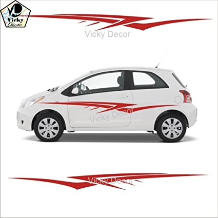 Vicky decor car side sticker crs025 red full body glossy finish size 60inch x 11