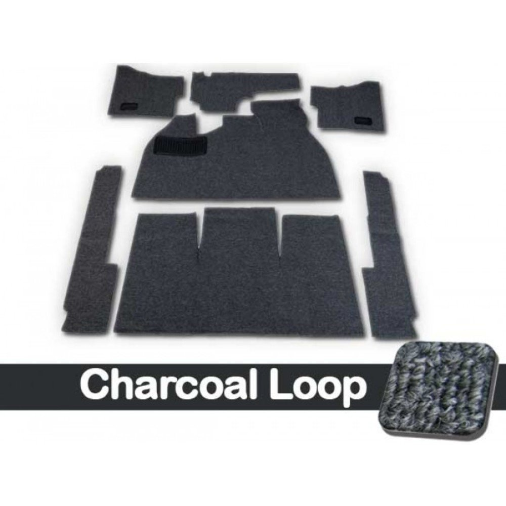 CARPET KIT,7PC, W/FOOTREST/HTR GROMMETS,58-68 BUG CHARCOAL LOOP W/BLACK CLOTH BINDING by Pirate Mfg