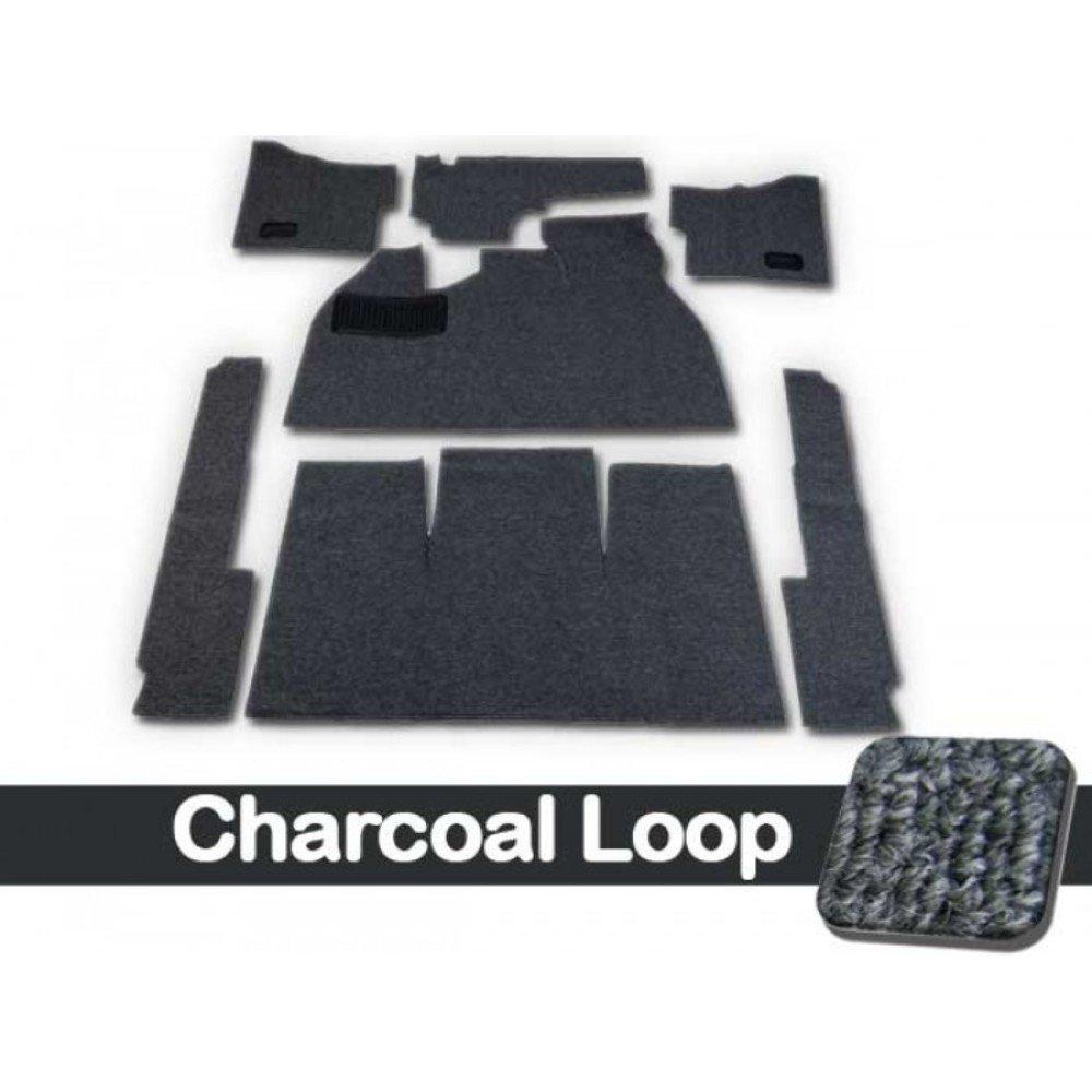 CARPET KIT,7PC, W/FOOTREST/HTR GROMMETS,58-68 BUG CHARCOAL LOOP W/BLACK CLOTH BINDING