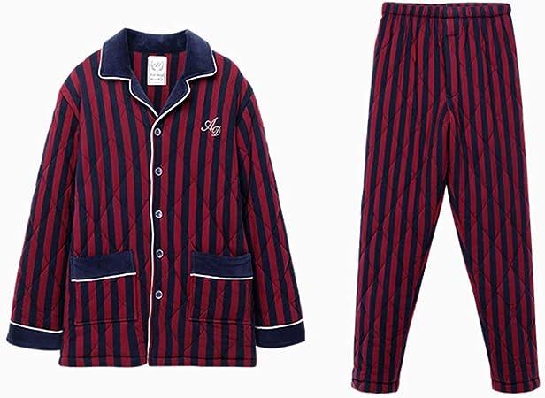 Pijamas Hombres Rayas Rojas Ropa de Dormir de Moda Algodón de ...