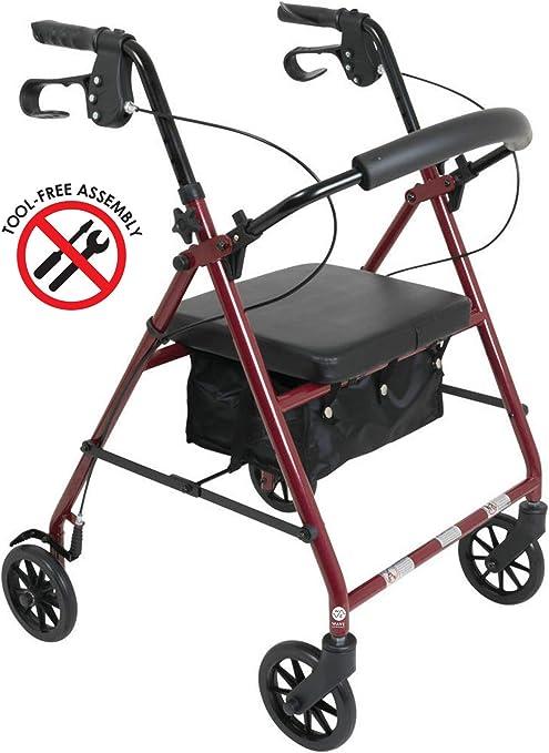 Amazon.com: Andador ligero de aluminio con asiento de ...