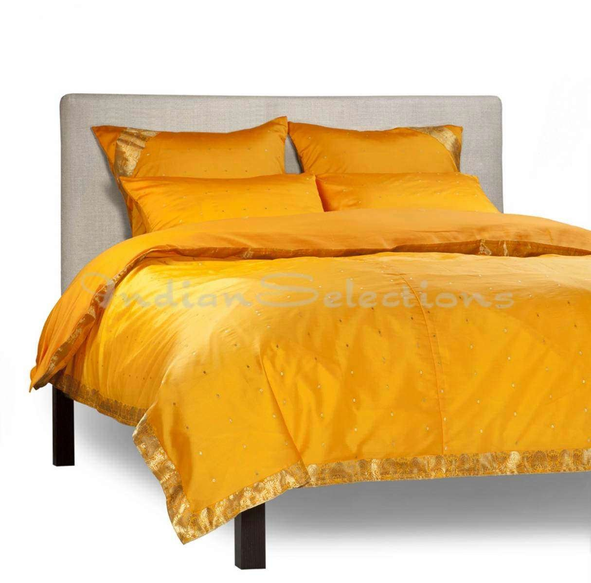 Pumpkin - 5 Piece Handmade Sari Duvet Cover Set with Pillow Covers / Euro Sham - Twin