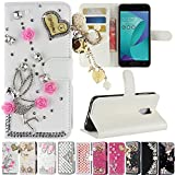 Asus Zenfone V Live V500KL Case, Best Share Manual Bling Flip Stand PU Leather Wallet Full Cover Silicone Case Card Slot for Asus Zenfone V Live V500KL, White-Angel Pedant