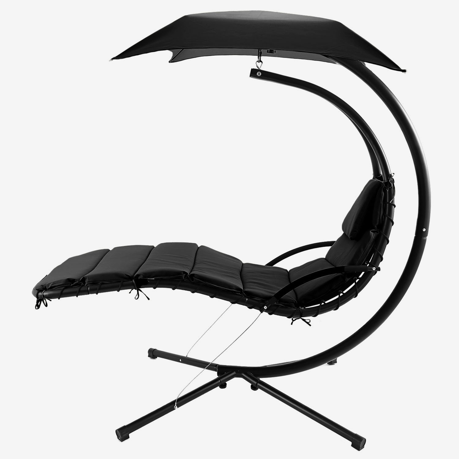 Vansop Hanging Chaise Lounger Chair Arc Stand Air Porch Swing Hammock with Canopy, 350lbs Max Weight Capacity US Stock Black
