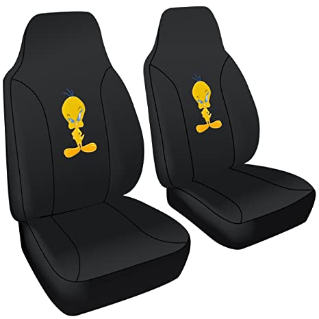 BDK 2 Pc Looney Tunes Tweety Bird Licensed Integrated High Back Seat Covers