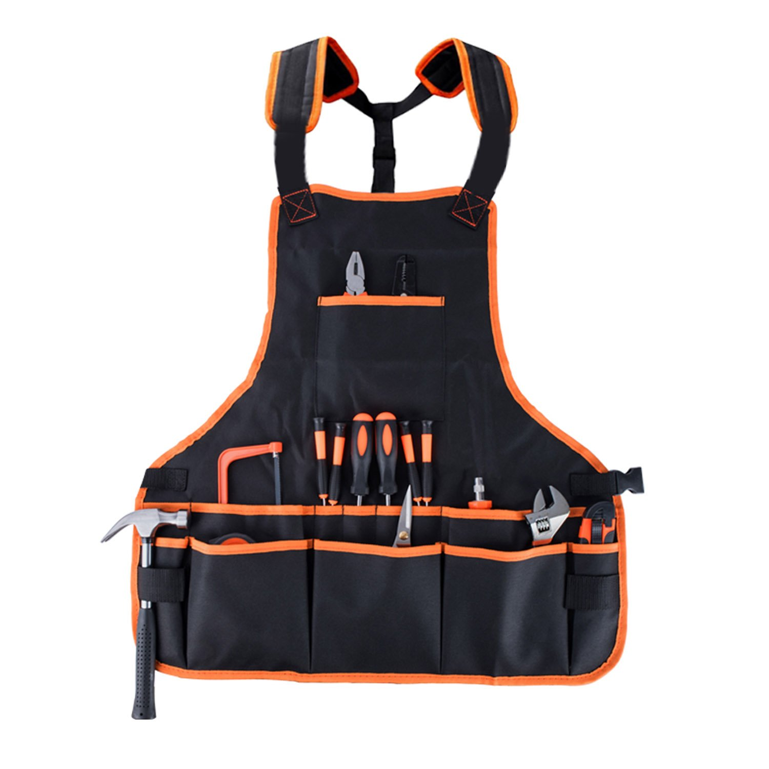 Autoark Work Tool Apron with 16 Pockets,Waterproof & Protective,Fits Men & Women,Fully Adjustable,Black,ATT-001