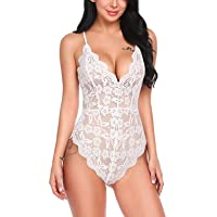 AIYUE Sexy Lace Deep V Lingerie for Women Teddy Underwear Mini Bodysuit One Piece...