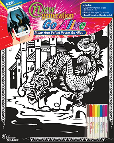 (New Generation Go Alive - Dragon Coloring Velvet Art Posters 2-Pack Set of 11x15 Inch Color in Posters   8 Super Tip Washable Markers Included   Dragons Value Pack Fuzzy Posters Great Gifting idea)