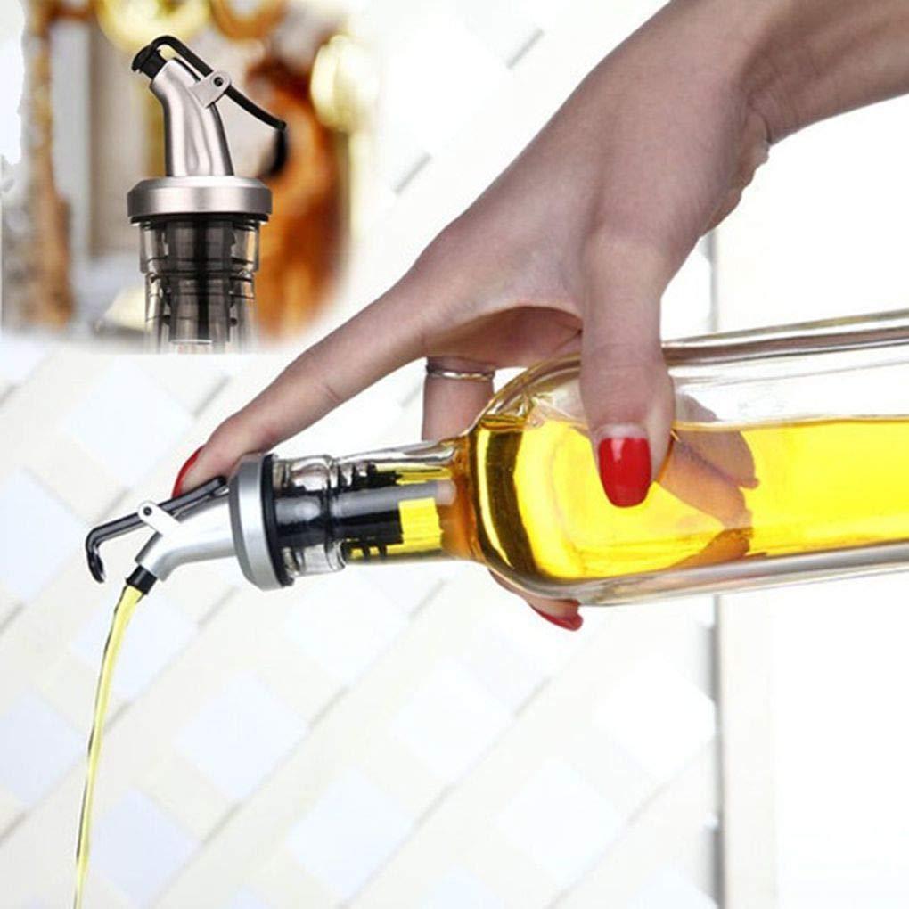 CHUER Beccuccio versatore per Vino con Tappo per Bottiglie di Vino Black caff/è versatore a Flusso Libero Set di 10 sciroppo di aceto Olio doliva Olio doliva da Cucina