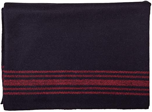 NAVY-STRIPED RED WOOL BLANKET