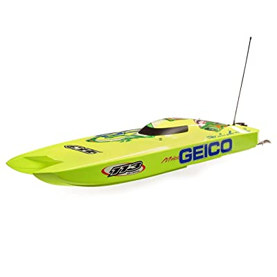 "Pro Boat Miss Geico Zelos 36"" Twin Brushless Catamaran RTR, PRB08040: Toys & Games"