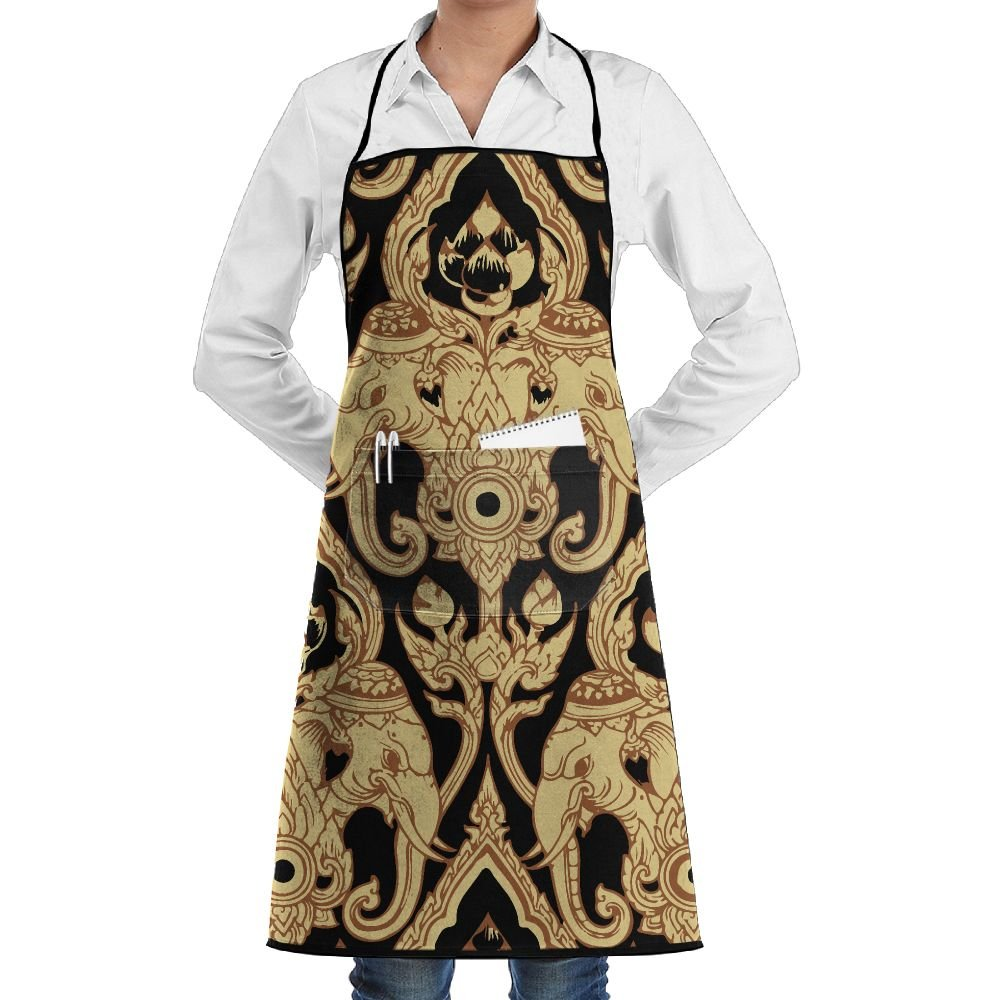 Unisex Kitchen Aprons Thai Elephant Chef Apron Cooking Apron Barbecue Aprons by Mortimer