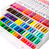 mychoose 100 Coloring Pens Dual Tip Colour Brush Pens with Fineliner Tip for DIY Coloring Book, Sketching, Painting, Drawing, Manga Fashion Design