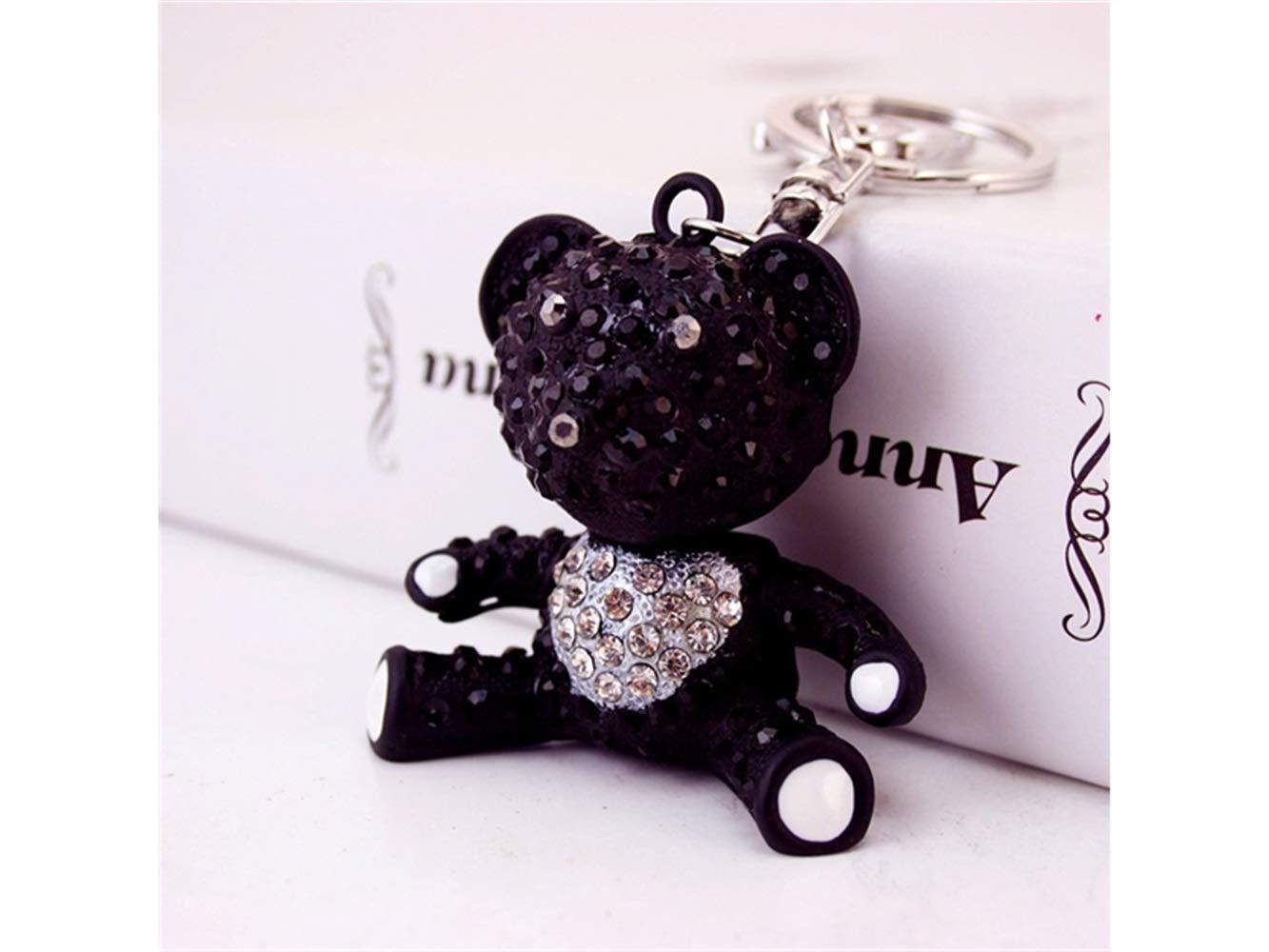 Car Keychain, Creative Exquisite Bear Keychain Animal Key Trinket Car Bag Key Holder Decorations(Black) for Gift