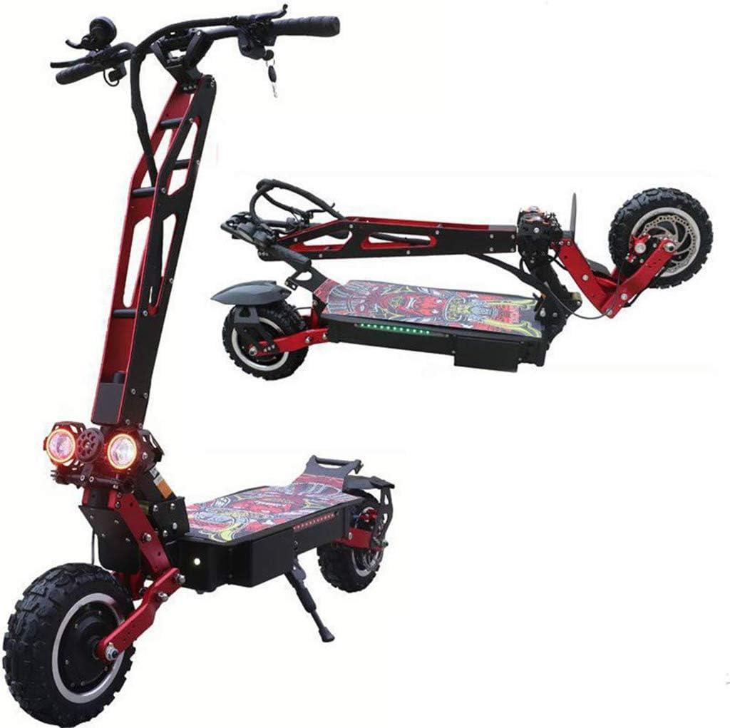 アップグレードされたバージョン11ランチCタイプオフロード電動スクーター、60V 5600W 26AHデュアルドライブ、折りたたみ式スクーター、フロントおよびリアオイルブレーキ.
