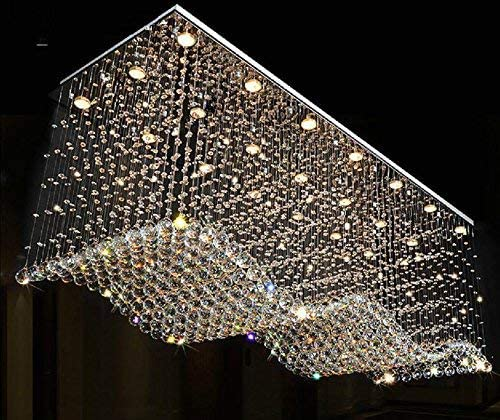 Contemporary Rectangle Crystal Raindrop Flush Ceiling Light Fixture/Chandelier