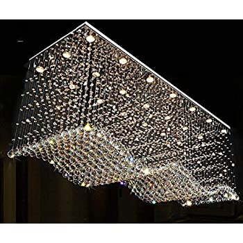 Contemporary Rectangle Crystal Raindrop Flush Ceiling Light Fixture Chandelier For Dining Room Lobby