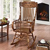 Traditional Mattawa Indoor Slat Back Rocking Chair with Ornamental Headrest Made with Wood in Warm Brown 25W x 33.5D x 45.75H in.
