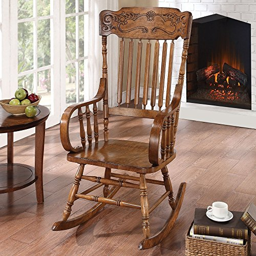 Traditional Mattawa Indoor Slat Back Rocking Chair with Ornamental Headrest Made with Wood in Warm Brown 25W x 33.5D x 45.75H ()