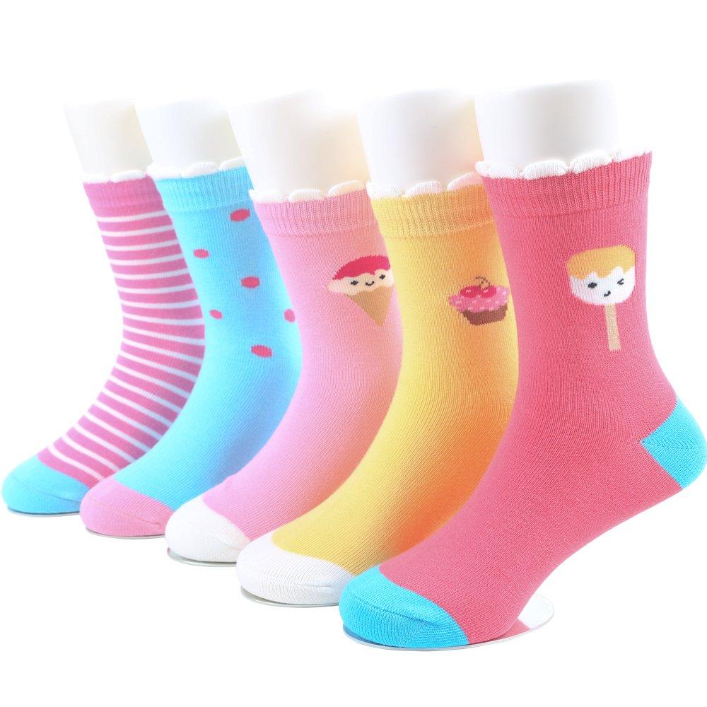 SUNBVE Baby Toddler Little Big Girls' Ice Cream Cute Cotton Crew Socks 5 Pack