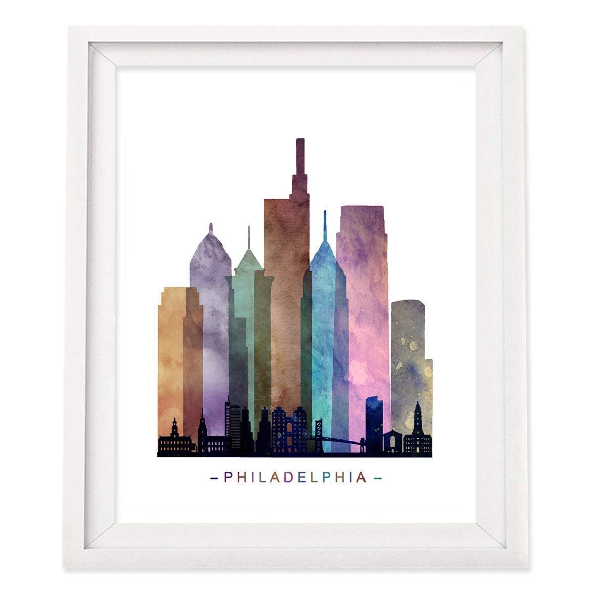 Pennsylvania Batik painting watercolor painting art Philadelphia skyline artwork watercolor batik Philly Philadelphia City Hall at dawn