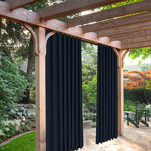 SeeSaw Home Mildew Resistant Thermal Insulated Outdoor Curtains/Draperies for Patio or Front Porch Eyelet Grommet, 84W By 108L Inch, 1 Panel, Navy Blue
