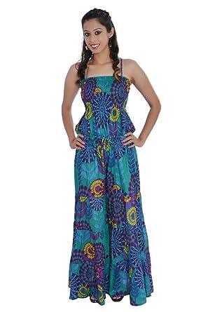 812f1ac716b8 Jaipur Kala Kendra Women s Cotton Printed Long Jumpsuit Dress Medium Blue