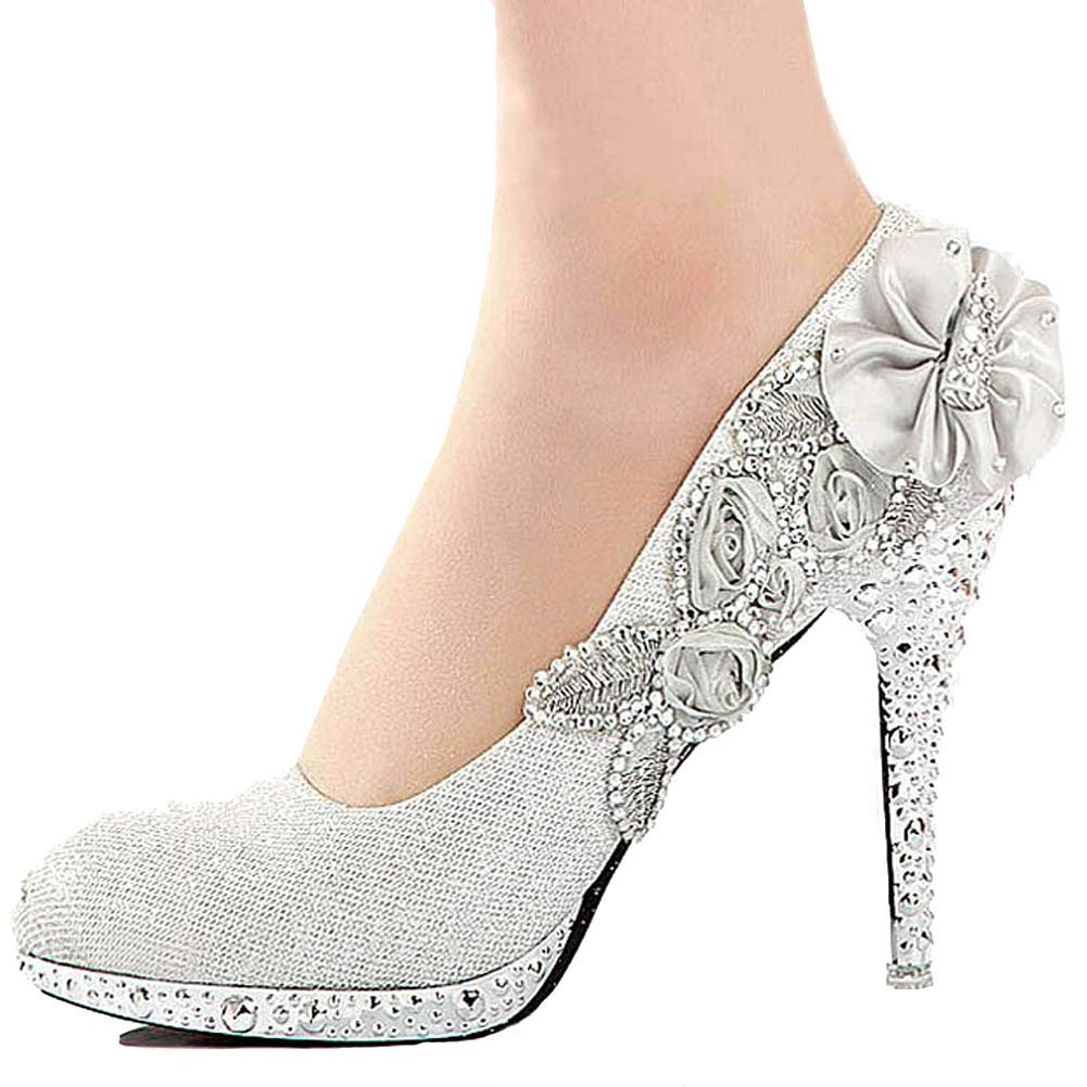 d2feebc6e69 Galleon - Getmorebeauty Women s Silver Lace Flower Pearls Closed Toes  Wedding Shoes (10 B (M) US