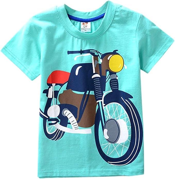 KaloryWee Kids Boys Motorbike T-Shirt Easter Short Sleeve Shirts Casual Tops Cotton Tee Age 2 3 4 5 6 7 8 Years