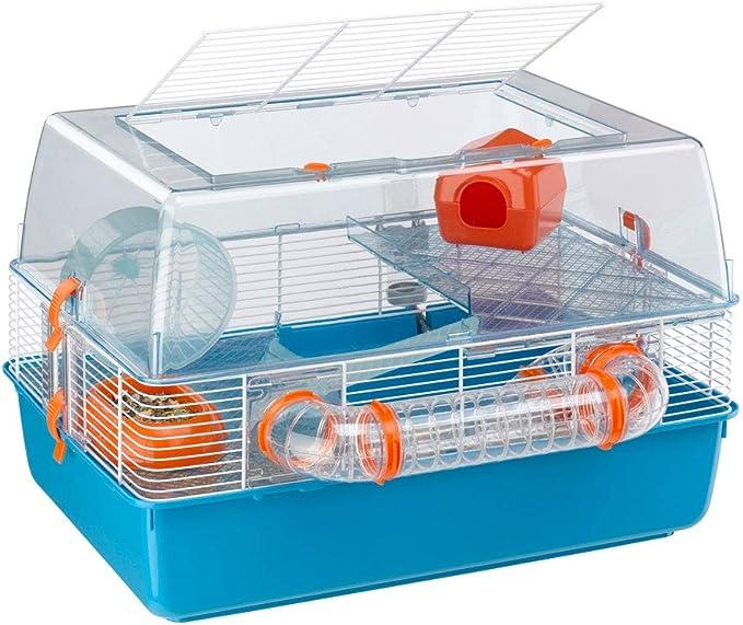 Ferplast Jaula de plástico para hámsteres DUNA FUN de tres pisos, Tapa transparente con rejilla de ventilación, Tubos y accesorios incluidos, Alambre pintado Blanco y plástico, 55 x 47 x h 37,5 cm
