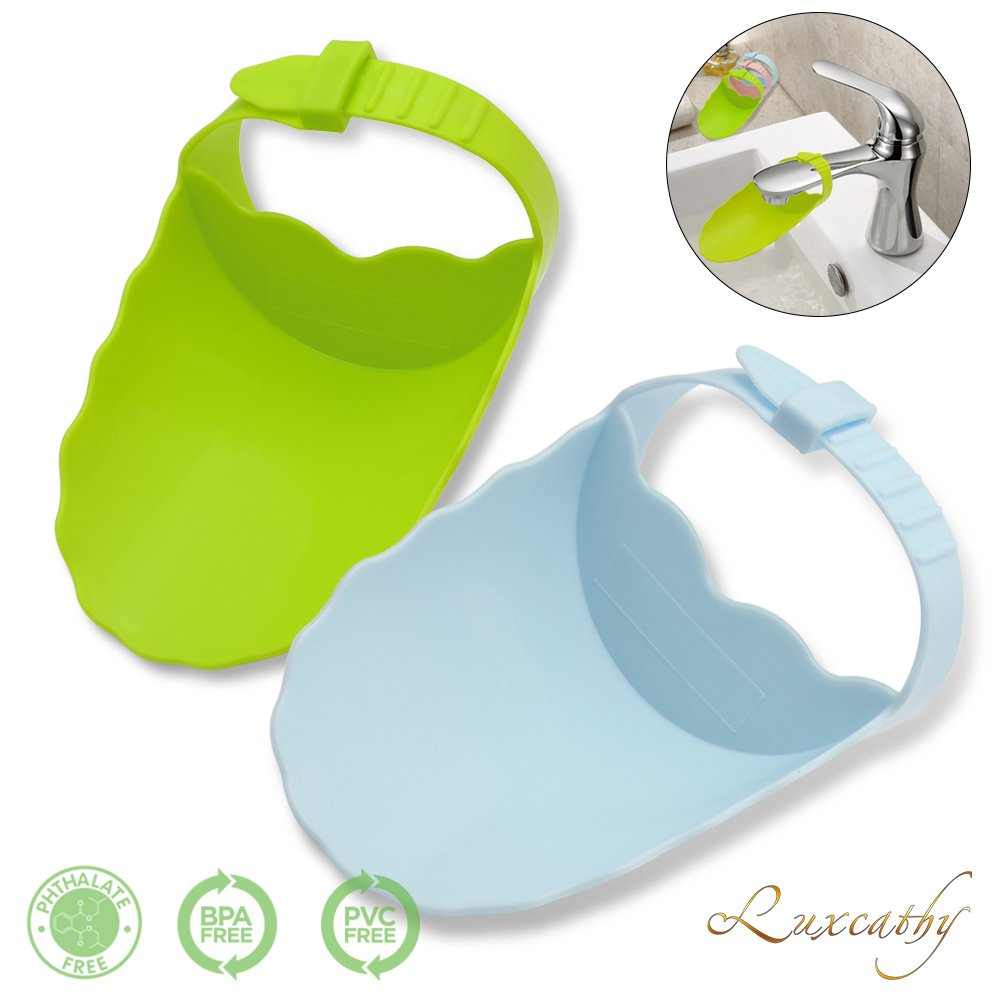 Luxcathy Pack of 2 Safety Adjustable Faucet Extenders for Babies, Toddlers, and Kids - Blue and Green